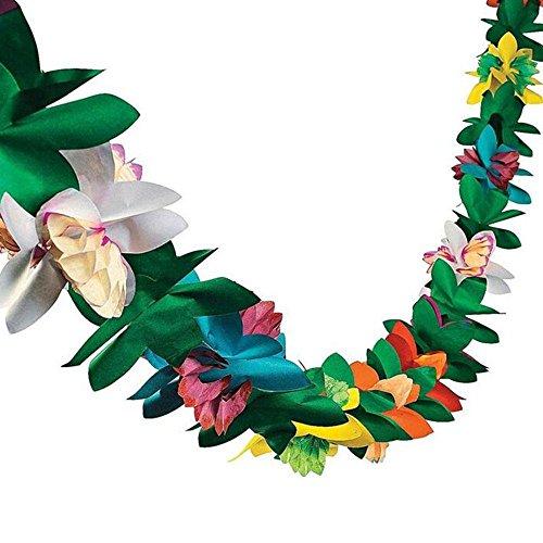 Leegoal 3D Tropical Paper Tissue Garland Flower Banner for Luau Hawaiian Party Supplies Beach Party Decorations -