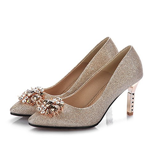 Amoonyfashion Femmes Pull-on Pointu Bout Fermé Talons Hauts Solides Chaussures-chaussures Or