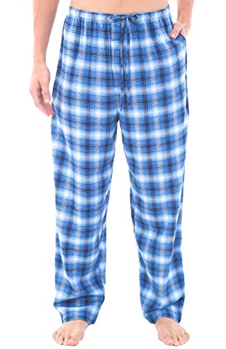 Mens Flannel Pajama Pants, Long Cotton Pj Bottoms, XL Blue and White Classic Plaid (A0705Q39XL) (Dark Plaid Flannel Pants)