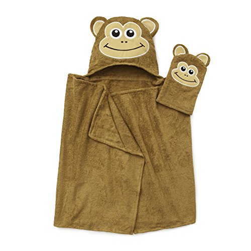 ADI American Dawn Tub Time Tots Kids Hooded Bath Wrap, Monkey