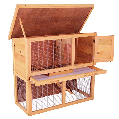Superworth 36'' Wooden 2- Story Rabbit Hutch Chicken Coop Waterproof Wood Hen House Poultry Pet Cage by Superworth