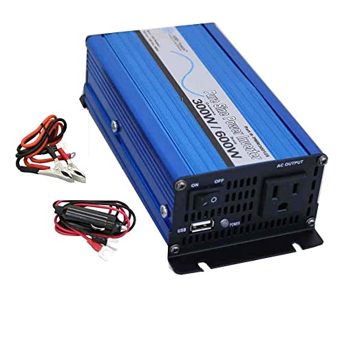 AIMS Power PWRI30012S Pure Sine Power Inverter, 300W Continuous Power, 600W Surge Peak Power, USB Port, Pure Sine Wave, Load Based Fan – Only runs When an Inverter senses a Load