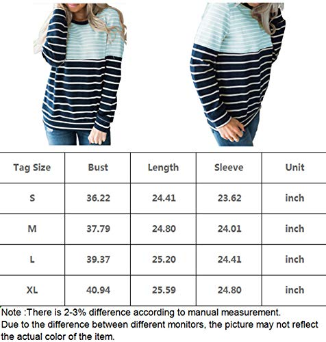 IMIDO Womens U Neck Tops Striped Color Block T-Shirts Casual Pullover Lightweight Long Sleeve Tunic Blouses (S, C-Grey)