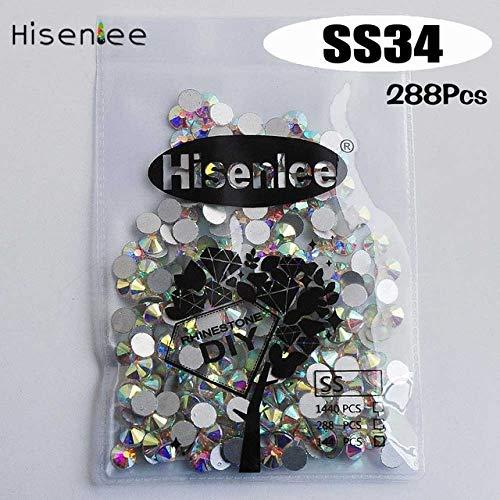 Kamas Multi Sizes Colored Glitter 3D Diamond Facet Flat Back Rhinestones Acrylic Nail Art Charm Wedding Dress Crystal Gems Kamas (Color: ss34 ()