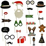 2 in 1 Christmas & New Years Eve Photo Booth Props – NO DIY REQUIRED Attached to the stick – Fun Holiday Party Decorations for All Family – Great Theme Party Kit - 27 Count