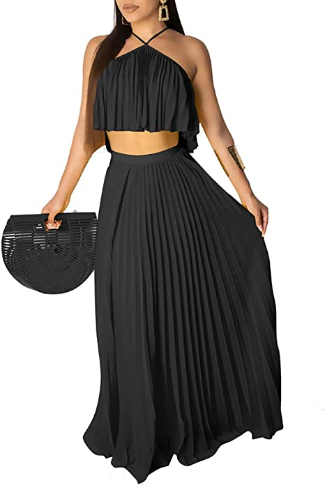 Women Summer Long Sleeve Crop Top Pleated Maxi Mesh Skirts Suit Two Piece Set #P