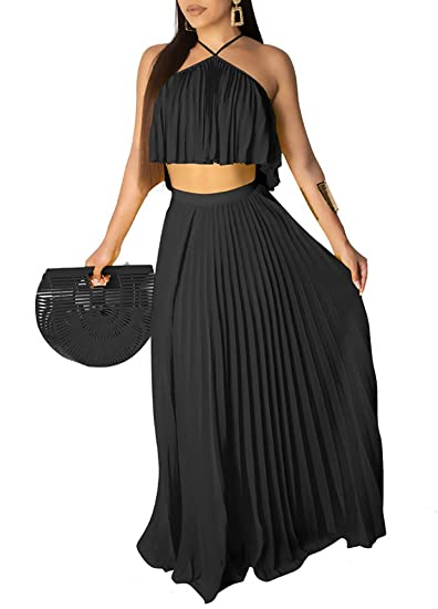 Womens 2 Piece Set Party Full Length High Waist Skirt Bodycon Maxi Dress Bra Top