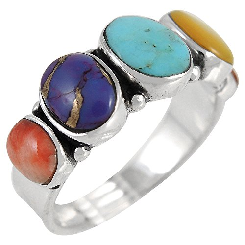 Turquoise Ring Sterling Silver 925 & Genuine Turquoise Statement Ring (SELECT color) (Multi-Gemstones, 11) (Stone Color Silver Ring Sterling)