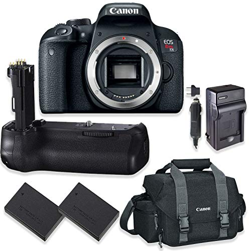 Canon EOS Rebel T7i DSLR Camera Body Only Kit with Canon 300-DG Digital Gadget Bag + Replacement T7i Battery Grip + 2 Replacement LP-E17 Batteries with A Multi Purpose Travel Charger