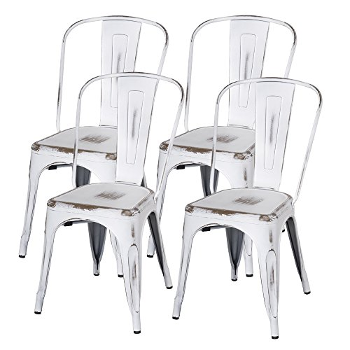 New Pacific Direct Metropolis Metal Side Chair,Distressed White,Set of 4