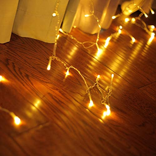 8 Modes 1280 LEDs 10M(W) X 4M(H) Curtain Lights String Fairy Light Window Curtain Icicle Lights Window Lights for Christmas Wedding Party Hotel Decorations Yellow