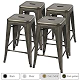 Furmax 24'' Metal Stools High Backless Silver Metal Indoor-Outdoor Counter Height Stackable Bar Stools Gun Metal(Set of 4)