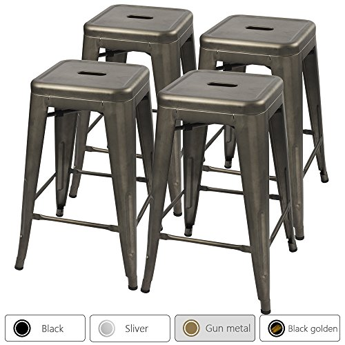 Furmax 24'' Metal Stools High Backless Silver Metal Indoor-Outdoor Counter Height Stackable Bar Stools Gun Metal(Set of 4) by Furmax