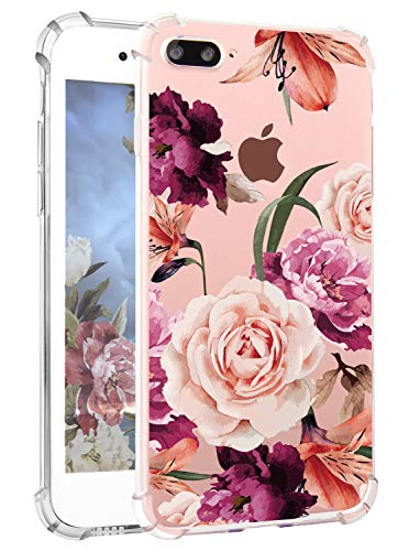 Hepix Flowers iPhone 8 Plus Cases Girly iPhone 7 Plus Floral Case, Pretty Pink Rose iPhone Case with TPU Bumper Clear Soft Flexible Air Cushion Shock Absorption Technology Anti-Scratch Phone Cover