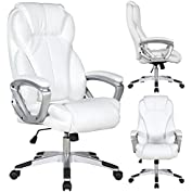 2xhome - White - Deluxe Professional PU Leather Tall and Big Ergonomic Office High Back Chair Boss Work Task Computer...