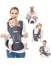 Viedouce Baby Carrier Ergonomic for Newborn,Pure Cotton Front Back Child Carrier with Detachable Hood Multi-Position Soft Backpack Carrier,Complete Safety Protection(0-48 Months) (Dark Gray)