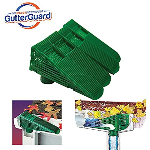 The Gutter Guard - Wedge Eliminates Downspout Pipe Clogs From Leaves and Debris - 4-Pack (Green) (Stair Wedge)