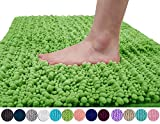 Yimobra Original Luxury Chenille Bath Mat, Soft Shaggy and Comfortable, Large Size, Super Absorbent and Thick, Non-Slip, Machine Washable, Perfect for Bathroom (31.5 X 19.8 Inches, Moss)