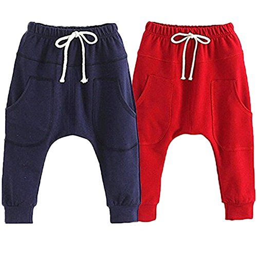Little Baby Boys Girls 2 Pack Of Cotton Hiphop Harem Pants Infant Sport Jogger 5T-6T  Pants-b