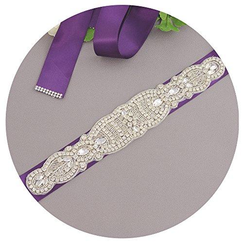 Perlées Des Femmes Ulapan Les Cristaux De Châssis De Ceinture De Robe De Mariée Ceinture De Ceinture De Mariée, S162 Violet