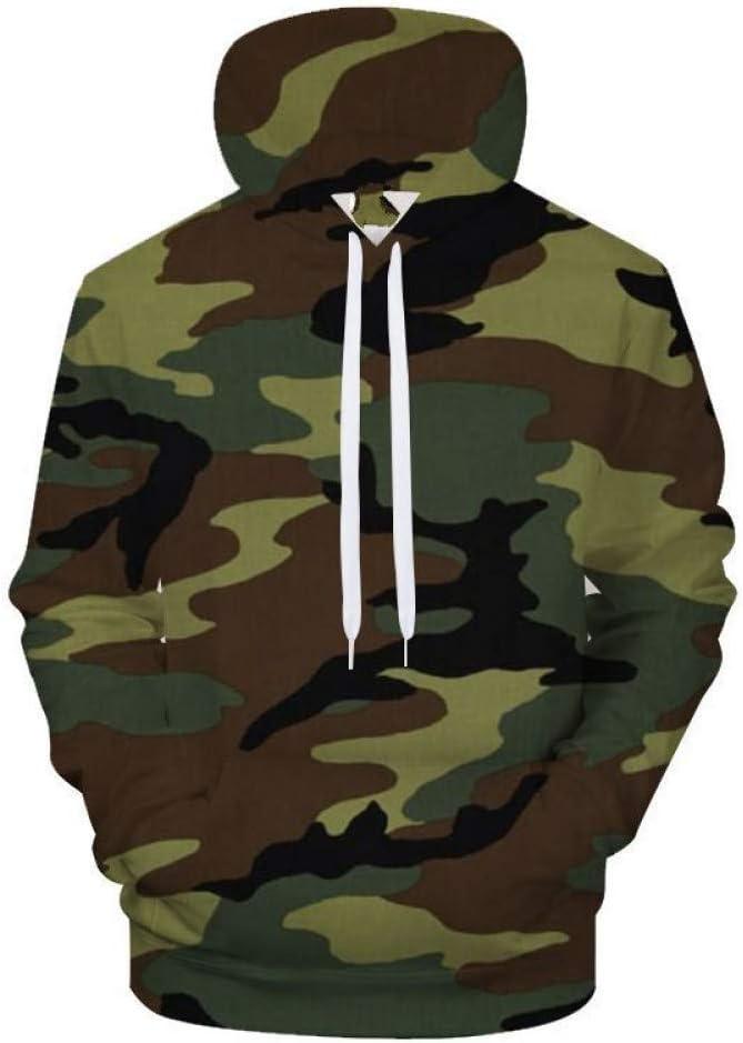 PU Frühling und Herbst Army Green Camouflage Herren Hoodie 3D gedruckte Hoodies Streetwear Camo Pullove Hooded Sweatshirts,M M