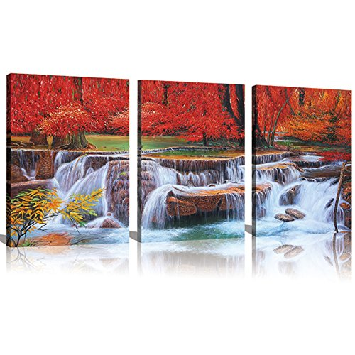 Sunrise Art -Canvas Prints Red Tree Waterfall Paintings for Wall and Home Décor Landscape Paintings on Canvas 12x16inch 3pcs Stretched and Framed Ready to Hang