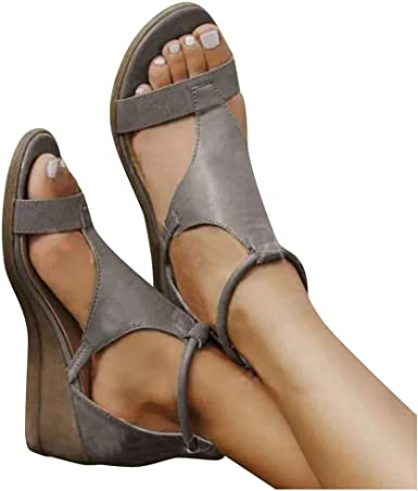 Womens Wide Fit Flat Sandals Wedges Shoes Brown Slippers Summer Flip Flops Mules