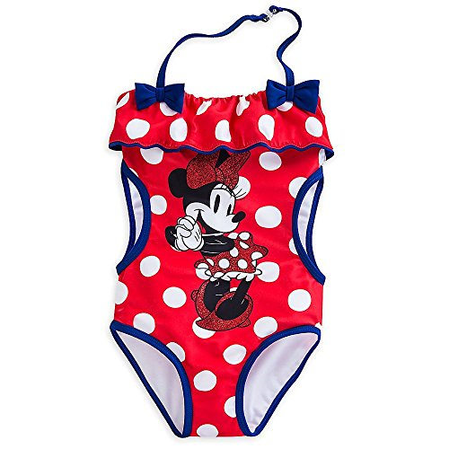 111e7892ff Disney Store Deluxe Minnie Mouse Trikini Swimsuit Size XXS 3 3T Red Blue  Polka Dots