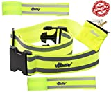 Reflective Belt Vest Combo (2x Reflection Bands + Reflector Belt + Runner Wrist Wallet). High Visibility for Running, Cycling, Walking, Biking. Adjustable & Lightweight Safety Gear by Mr Visibility