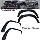 jku fender flare - QUAKEWORLD Front & Rear Flat Style Fender Flares Kits for 2007-2015 Jeep Jk 4 Door 2 Dr Wrangler Unlimited Sport Sahara Jku Rubicon