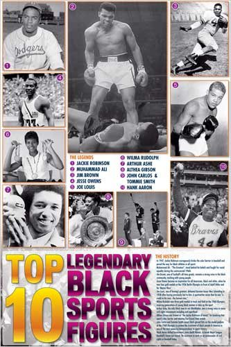 Legendary Black Sports Figures Poster 24 x 36in
