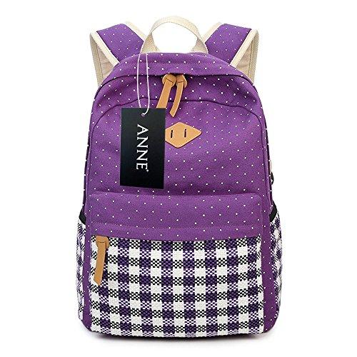 ANNE - Bolso mochila  de Lona para mujer morado morado talla única