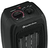 Ceramic Space Heater, Personal Warming Fan with Adjustable Thermostat, Carrying Handle, Power Cord, & Safety Features - by Comfort Zone