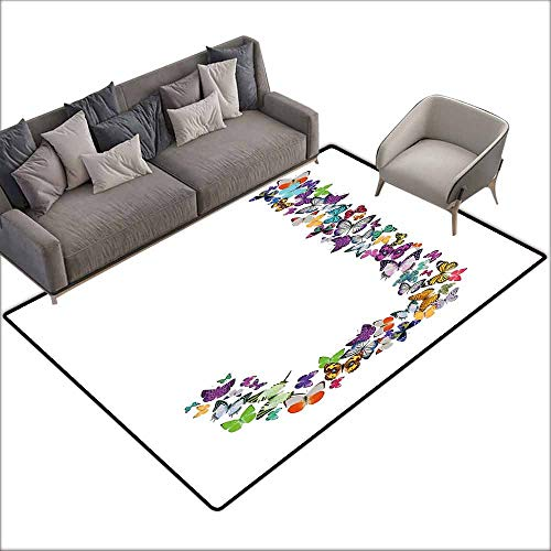 Bath Rug 3D Digital Printing pad Letter J Alphabet and Nature Tropical Biological Monarch Collection of Wings Typeset ABC Machine wash/Non-Slip W5' x L6'10 Multicolor