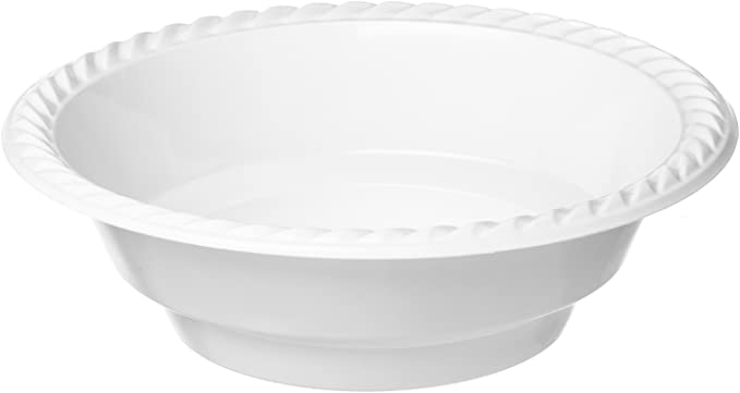 [100 Count] Disposable Plastic White 18 oz Heavy Weight Bowls, Great For Weddings, Home, Office, School, Party, Picnics, Take-out, Fast Food, Outdoor, ...
