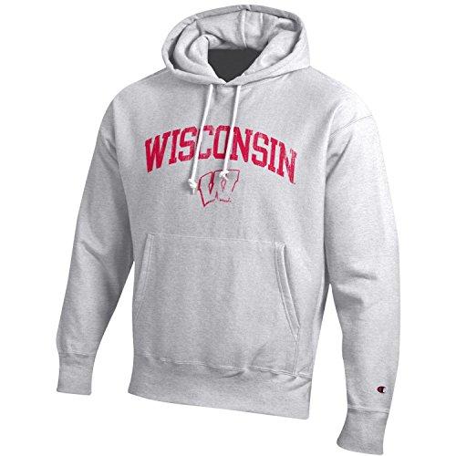 Champion NCAA Wisconsin Badgers Men's Men's Reverse Weave Hoodie, Large, Gray
