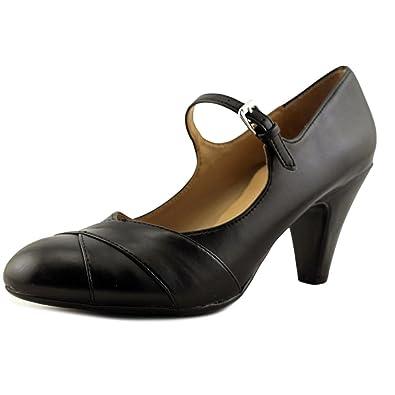 48e27305eb Amazon.com | Naturalizer Womens Layton Leather Round Toe Ankle Strap, Black  Smooth, Size 7.5 | Flats