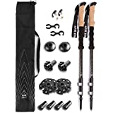 Alpine Summit 100% Carbon Fiber Trekking Poles w/Cork Grips - Collapsible Hiking/Walking Sticks