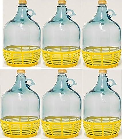 6 pieza 5L Cristal Globo con plástico cesta Vino Globo gärballon Botella de cristal entrega gratuita