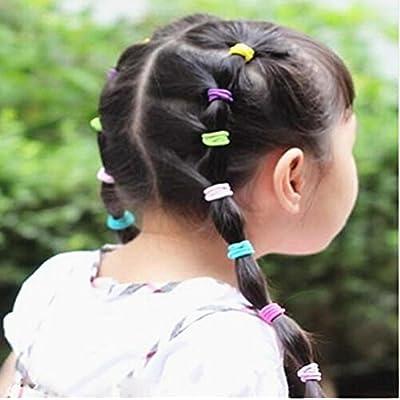 Leisial 100pcs Anillo de Pelo Color Bandas Elásticos del Pelo Goma del Pelo Accesorios para el Cabello para Niñas Bebés