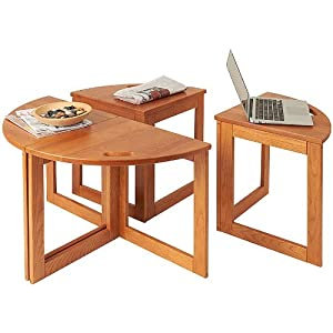Exceptional Manchester Wood Multipurpose Coffee Table Nesting Set Of 4   Golden Oak