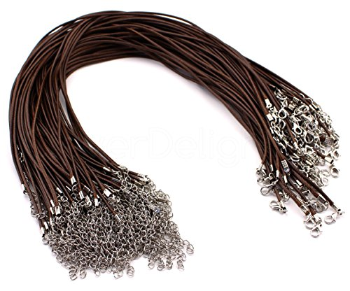 (50 CleverDelights Imitation Leather Cord Necklaces - Brown - 18 Inch - With Lobster Clasp - 2mm Thick 18