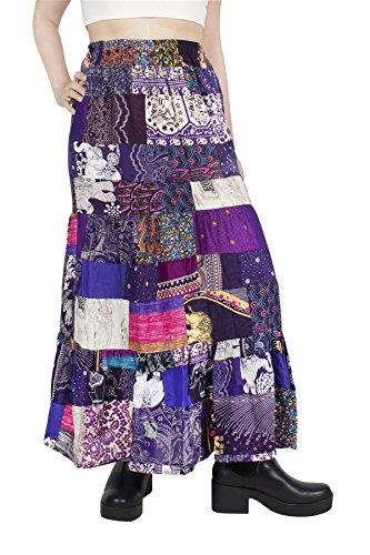 Gypsy Skirt Printed - Lofbaz Women's Long Bohemian Maxi Skirt Hippie Gypsy Boho Dress - Patchwork Purple - OS