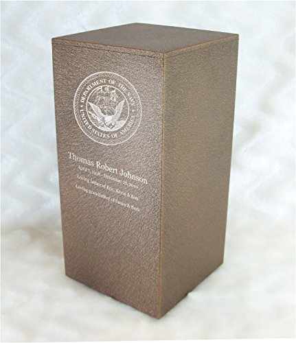 PERSONALIZED Engraved US Navy Cremation Urn for Human Ashes - Made in America - Handcrafted in the USA by Amaranthine Urns, Adult Funeral Urn - Eaton DL (up to 200 lbs living weight) (Cast Bronze)