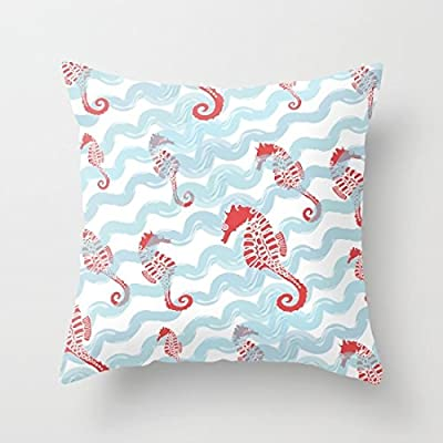 Beachy Seahorses Pillow Covers Decorative Accent Pillows Pillow Case 18 x 18 for Sofa