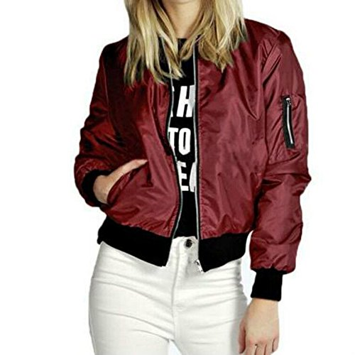 Bomber Pop (Pop lover Women's Fashion Classic Short Padded Bomber Coat Quilted Jacket Red M)