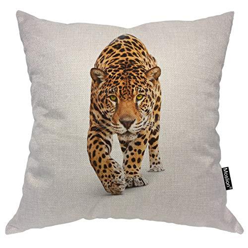 Moslion Tiger Pillows Wild Animal Cat Jaguar Panther Spots Doodle Leopard Throw Pillow Cover Decorative Pillow Case Square Cushion Accent Cotton Linen Home 18x18 Inch Brown Black White (Cover Leopard Black)
