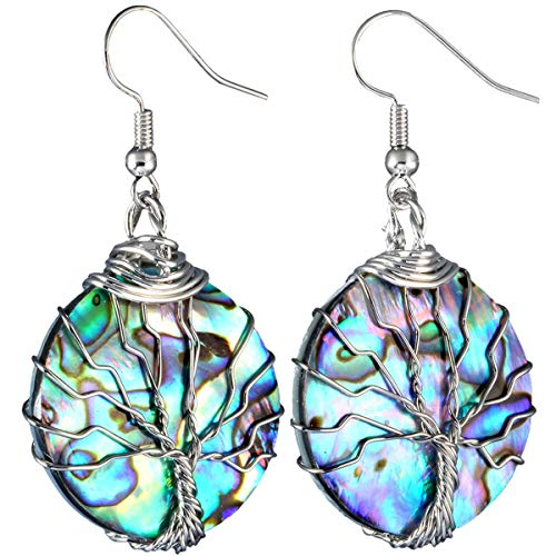 SUNYIK Rainbow Abalone Shell Tree of Life Dangle Earrings, Silver Plated