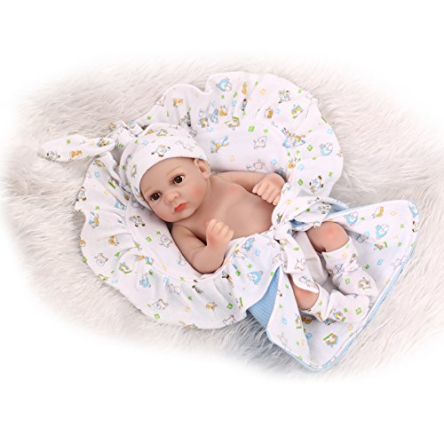 Funny House 10 Inch / 26cm Preemie Full Body Silicone Soft Vinyl Real Looking Reborn Baby Dolls Lifelike Newborn Boy Doll Xmas Present