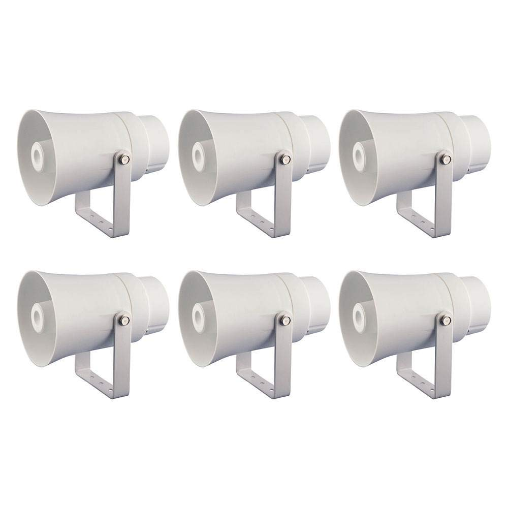 Pyle Aluminum 5.6 Inch Indoor and Outdoor PA Horn Speaker, White (6 Pack) by Pyle